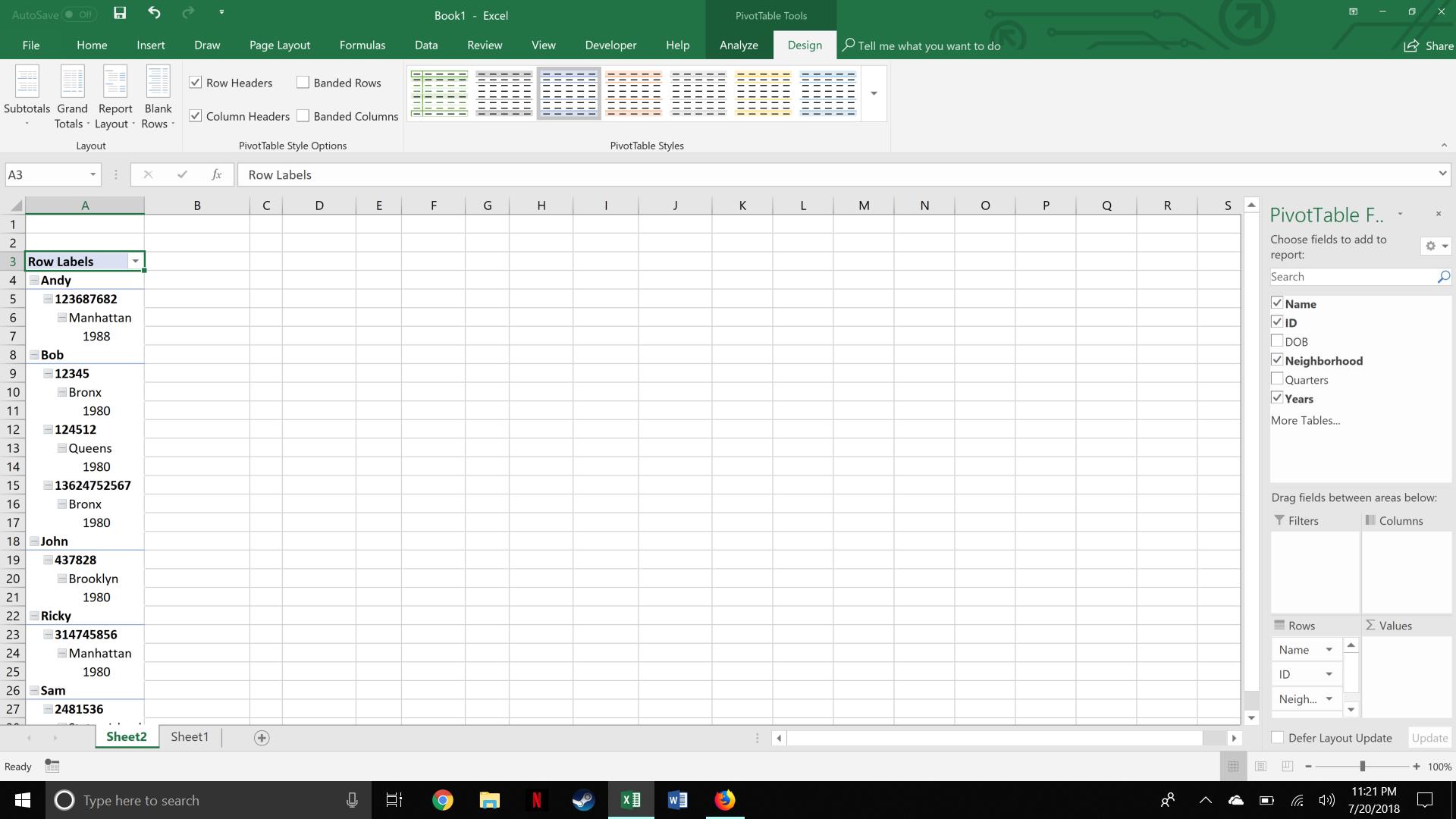 "Excel's ""Design"" tab"