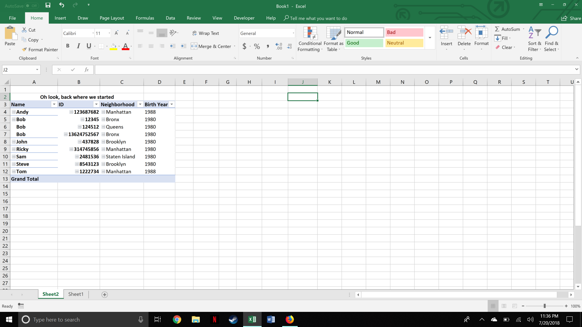 A pivot table in Excel