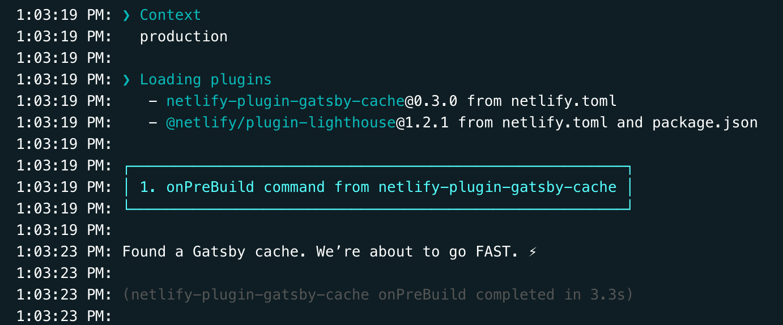 Netlify found a Gatsby cache